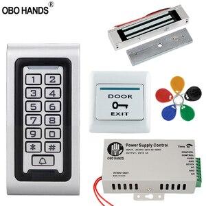 Image 1 - Kit de sistema de Control de acceso 125KHz IP68 tablero de Metal con teclado RFID resistente al agua + cerradura eléctrica + interruptor para puerta de salida fuente de alimentación para exteriores