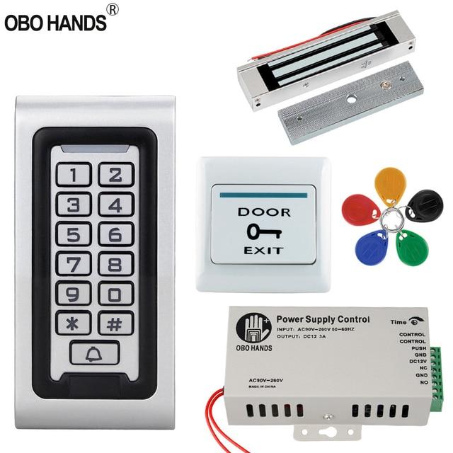 Kit de sistema de Control de acceso 125KHz IP68 tablero de Metal con teclado RFID resistente al agua + cerradura eléctrica + interruptor para puerta de salida fuente de alimentación para exteriores