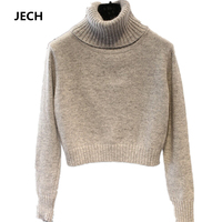 2018 Fashion Women Turtleneck Knitted Cashmere Sweater Female Short Pullovers Cashmere Long Sleeved Warm Sweater Free Shipping