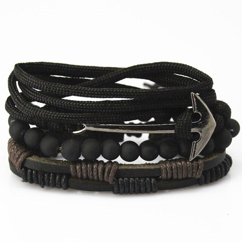 Новая мода шарик Кожаные браслеты и браслеты для Для женщин 3/4 шт 1 компл. Многослойные браслет Для мужчин Pulseiras dropshiping