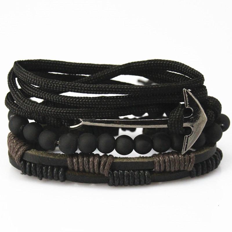 New Fashion Bead Leather Bracelets bangles for Women 3 4 pcs 1 Set Multilayer Wristband Bracelet