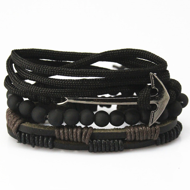 New Fashion Bead Leather Bracelets Bangles For Woven 3 4 Pcs 1 Set Multilayer