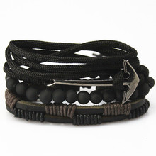 New Fashion accessories anchor Bead Leather Bracelets & bangles 3/4 pcs 1 Set Multilayer Braided Wristband Bracelet Men pulseira