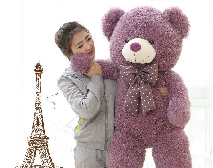 huge lovely purple teddy bear doll candy colours teddy bear with spots bow plush toy doll birthday gift about 160cm huge lovely plush purple teddy bear toy cute big eyes bow big stuffed teddy bear doll gift about 160cm