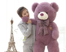 huge lovely purple teddy bear doll candy colours teddy bear with spots bow plush toy doll birthday gift about 160cm