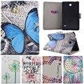 "Sorriso bonito dos desenhos animados caneta árvore borboleta stand case couro flip for samsung galaxy tab 4 8.0 ""T330 T331 T335 Tablet Cover Coque"