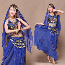Indian Belly Dance Costume Set 7PCS(Skirt+Top+Belt+Veil+Head accessories+Bracelet) Exotic Apparel Dancewear Dress Clothing