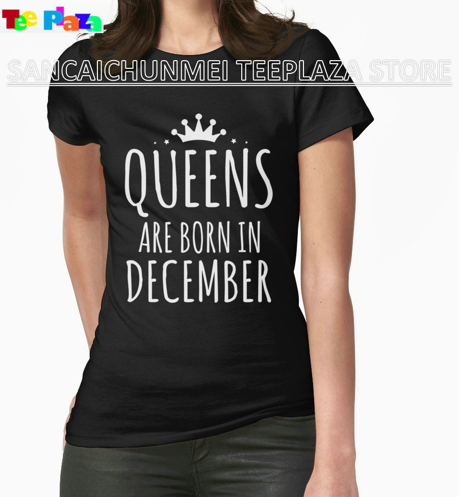Desain t shirt unik - Teeplaza Murah T Shirt Desain Lengan Pendek Tees Wanita Ratu Yang Lahir Pada Bulan Desember