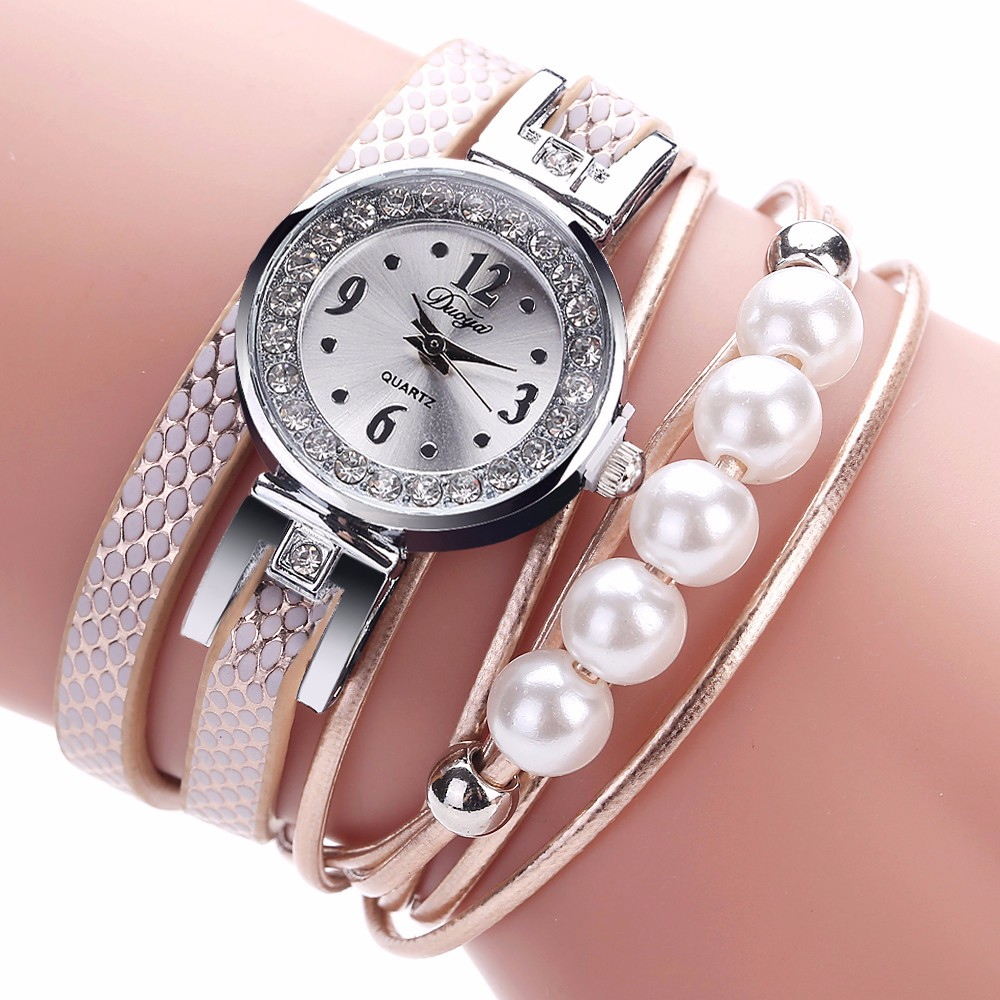 DUOYA Luxury Brand Women Gold Rhinestone Leather Wrist Ladies Quartz-Watch Casual Pearl Vintage Bracelet Watches Dropshipping533