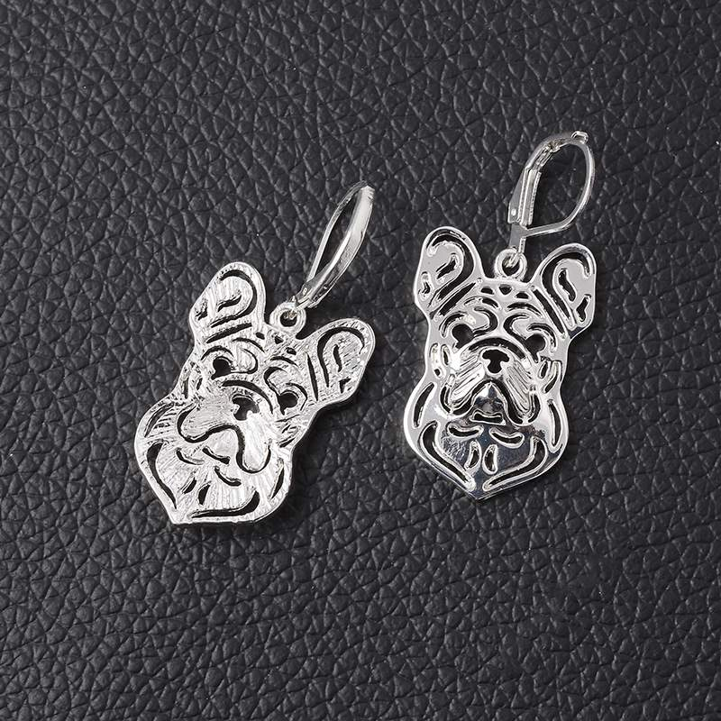 RONGQING 1pair/lot Hollow Fashion Jewelry Tiny French Bulldog Hook Earrings for Women Un ...