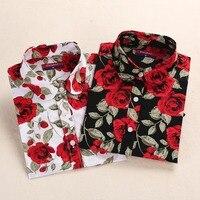 Brand New Fashion 2015 Womens Blouses Polka Dot Cotton Blouse Turn Down Collar Floral Blouse Long