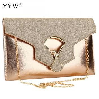gold Evening Clutch Bags For Women 2019 Leather Luxury Purses New Handbags Female Evening Bags Designer Small wedding party Bag