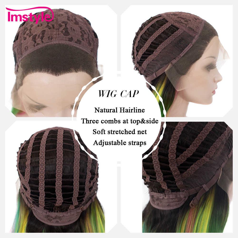 Imstyle Gerade Regenbogen Grüne Perücken Spitze Front Perücken Für Frauen Lange Haar Hohe Temperatur Faser Synthetische Spitze Perücke Cosplay Perücke