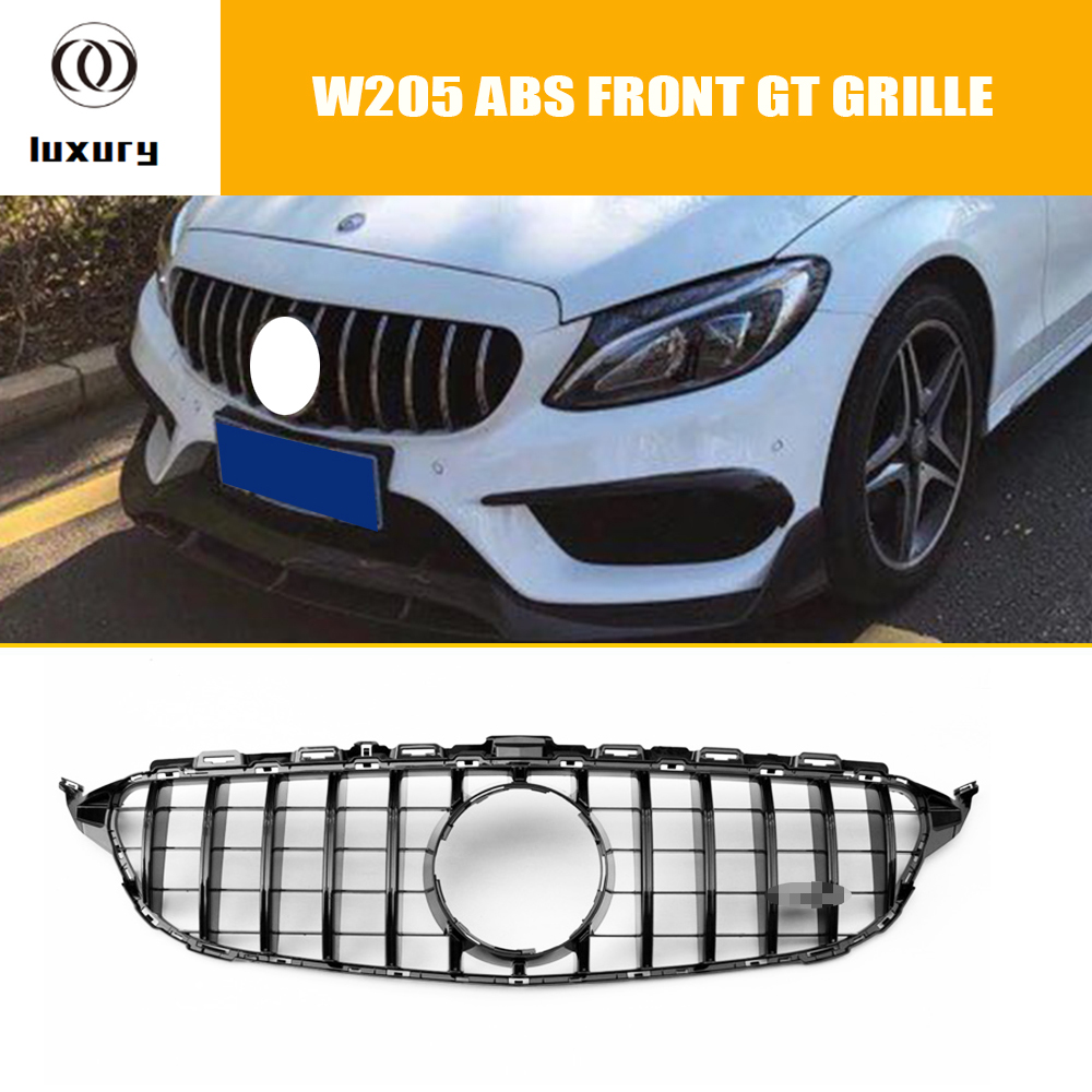 W205 GTR Style ABS Silver Front Bumper Mesh Grill Grille for Benz W205 C180 C200 C300 C43 With AMG Package 15-18 ( no star logo) grille