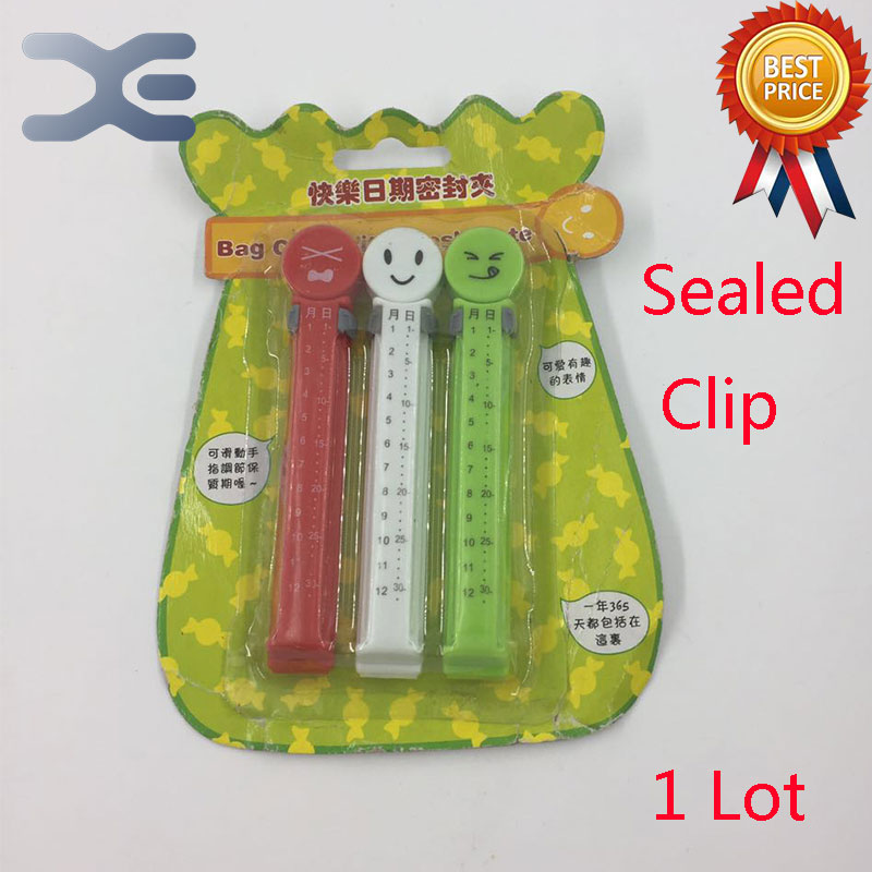 1Lot Smile Date Seal Clamp Creative Seal Clamp (3 Pack) Food Seal Clamp Free Shipping все цены