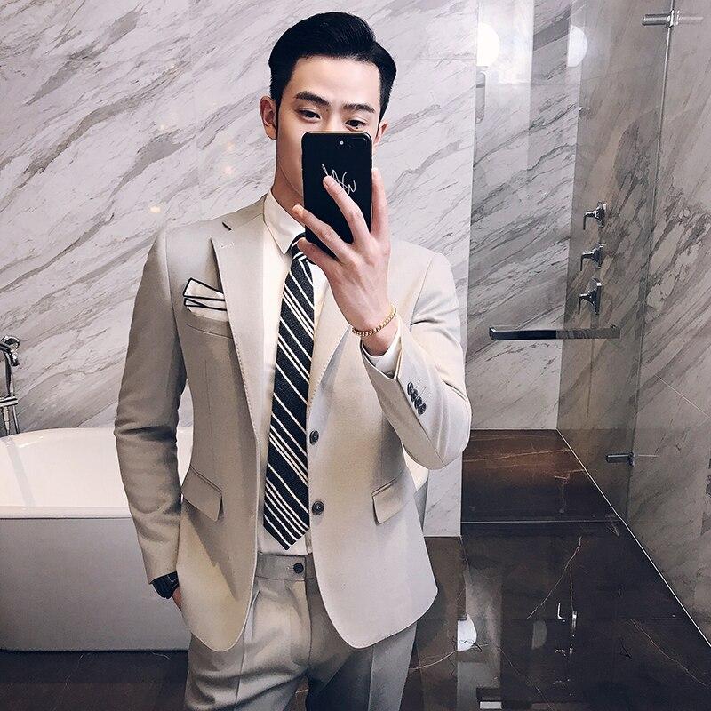 (Топы + Штаны) Новый мужской моды бизнес повседневный комплект торжественное платье молодежи корейских мужчин хост пиджак