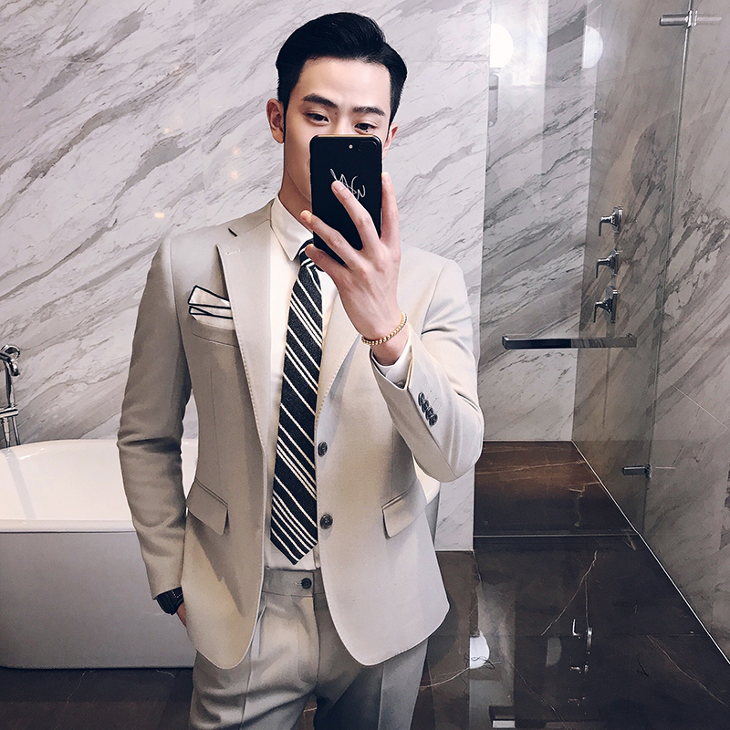 (Tops + pants) New mens fashion business casual suit wedding dress youth Korean male host suit jacket