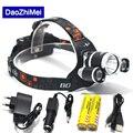 Led lighting Head Lamp T6+2R5 LED 8000Lm Headlamp Headlight Camping Fishing Light +2*18650 battery+Car EU/US/AU/UK charger+1*USB