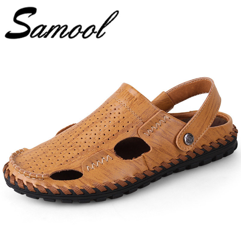 Summer Cool Leather Sandals New Famous Brand Casual Men Sandals Slippers Summer Shoes Hollow Breathable Beach Sandals JX4