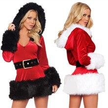 2017 high quality arrived Women's Sleigh Belle Velvet Xmas Dress sexy santa costumes for women hooded belt Christmas dress women