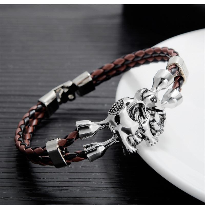 AZIZ BEKKAOUI Bracciali Unici per Gli Uomini In Acciaio Inox Braccialetto di Cuoio Amicizia Animale Dei Monili del Regalo