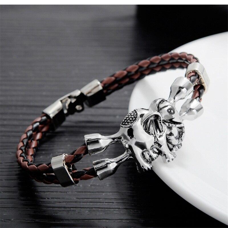 AZIZ BEKKAOUI Unique Bracelets pour Hommes En Acier Inoxydable Bracelet En Cuir Animal Amitié Bijoux Cadeau