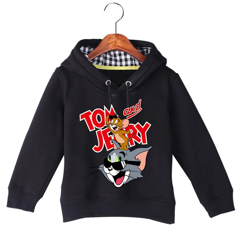 Jiuhehall Good Quality Boy Girl Plus Velvet Sweatshirts Cat and Mouse Print Kids Hooded Hoodie Cotton Children\'s Pullover GCM130 (1)