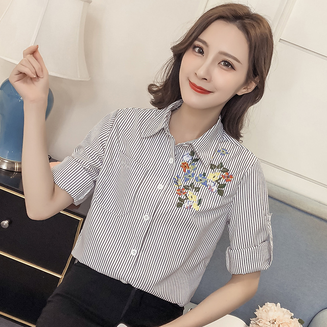 804698bc987 2018 New Spring Women Shirts Loose Striped Full Sleeve Small Clear Han Fan  Blue Black And Flowers Blouse Shirt White 8096