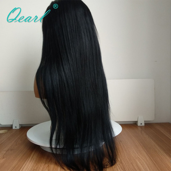 #1 Jet Black Silky Straight Full Lace Wigs Human Hair with Baby Hair 130% Remy Hair Pre Plucked Middle Part Indian hair Qearl 1