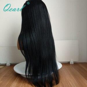 Image 3 - 제트 블랙 1 # 컬러 인간의 머리카락 전체 레이스 가발 베이비 헤어 130% 150% 스트레이트 가발 레미 헤어 사전 뽑아 자연 헤어 라인 qearl