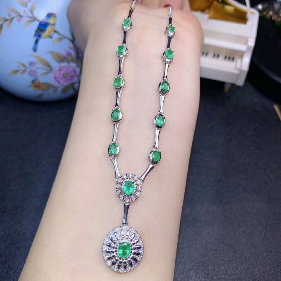 [MeiBaPJ]Colombian Natural Emerald Gemstone Pendant Necklace with Certificate 925 Pure Silver Fine Wedding Jewelry for Women