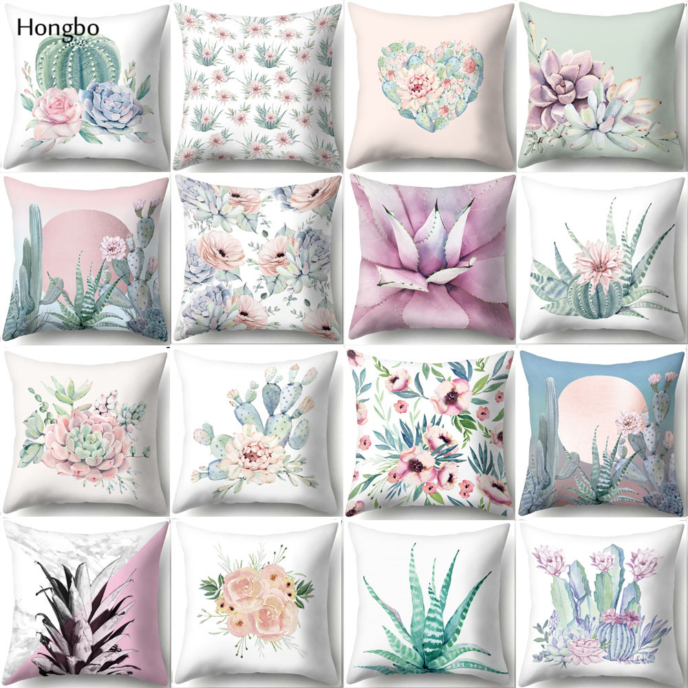 Hongbo 45*45cm Square Decorative Throw Pillow Case Succulent Plants Print Pineapple Cactus Pillowcase For Home