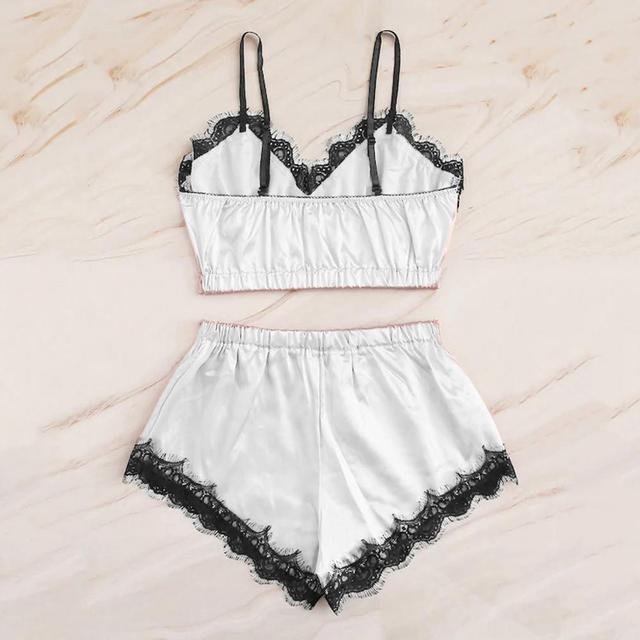 Women Bow Sleepwear Sleeveless Strap Nightwear Lace Trim Satin Cami Top Pajama Sets femme sexy lingerie pyjamas women 5