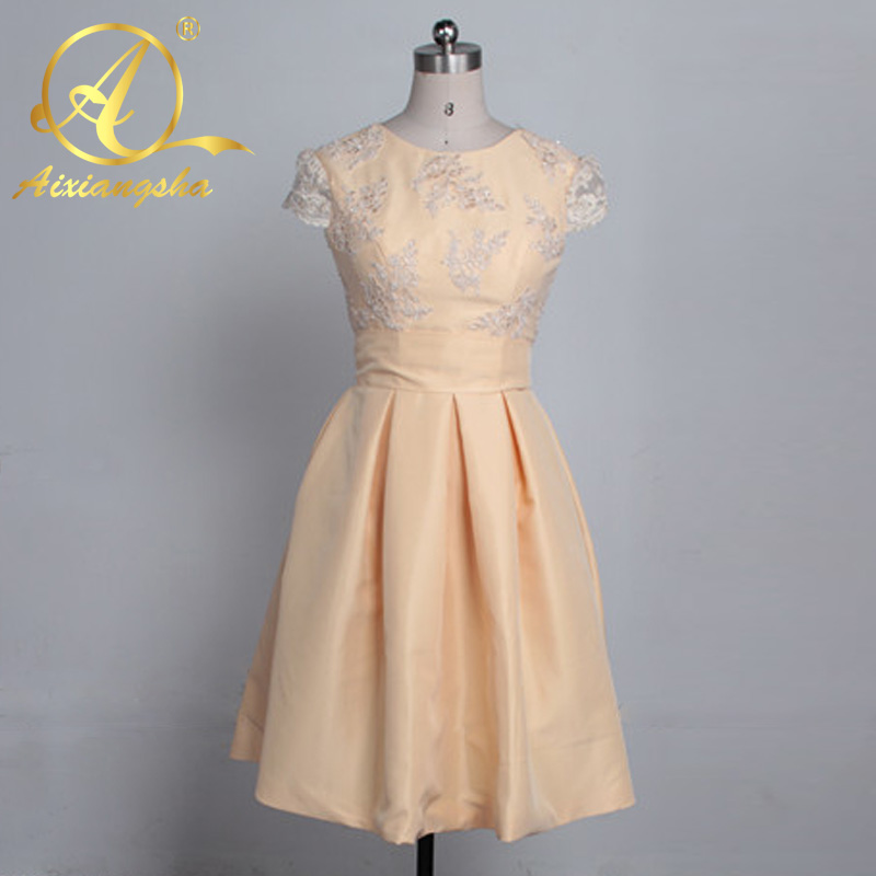 2017 A Line Bridesmaid Dresses Short Sleeve Jewel Neck Sexy Backless Wedding Party Gowns Ruffle Tea Length Robe De Soiree