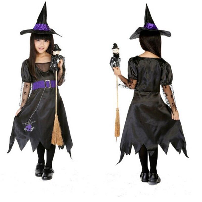 Halloween Children Dance Performance Clothing Girl Cute Black Female Witch Cloak  Hat Wizard -9575