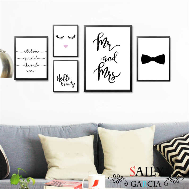 Mr and Mrs Love Quotes Art Canvas Painting Abstract Home Decoration Makeup Beauty Eyelash Wall Picture for Living Room No Frame