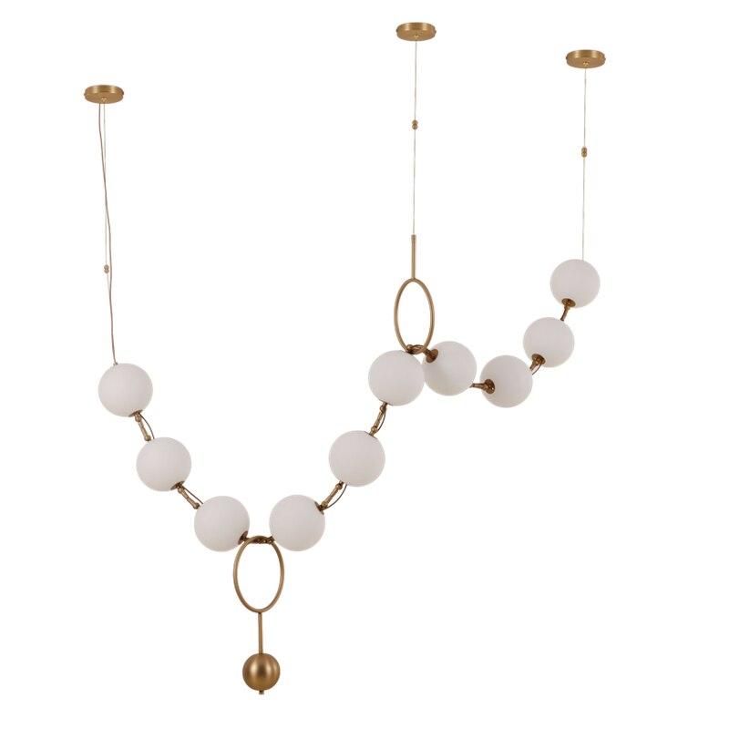 Post modern creative pendant lights foyer frosted milky white glass ball Combo droplight hotel restaurant light free shipping