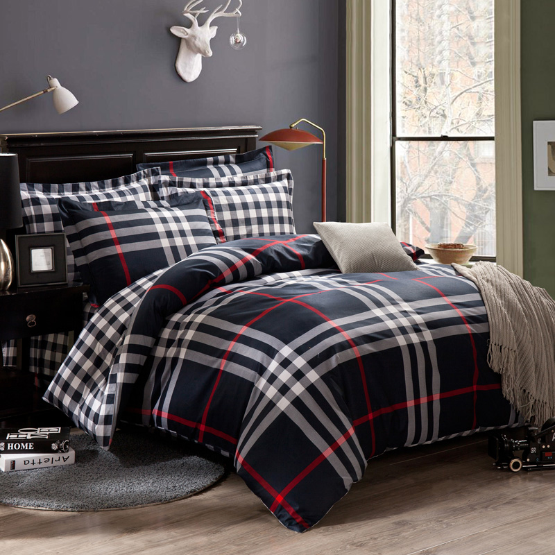 Blue And White Plaid Boys Bedding Sets 4pc Duvet Cover