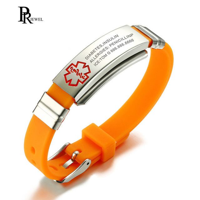 Custom Engrave Bracelet Medical Alert Tag Stainless Steel ID Hard Chain Orange S