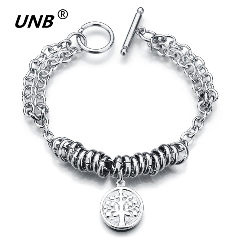 UNB Tree of Life Charm Stainless Steel Bracelets For Women Boy Girl Friends Gifts Silver Plated Bangles&Bracelets homme rock
