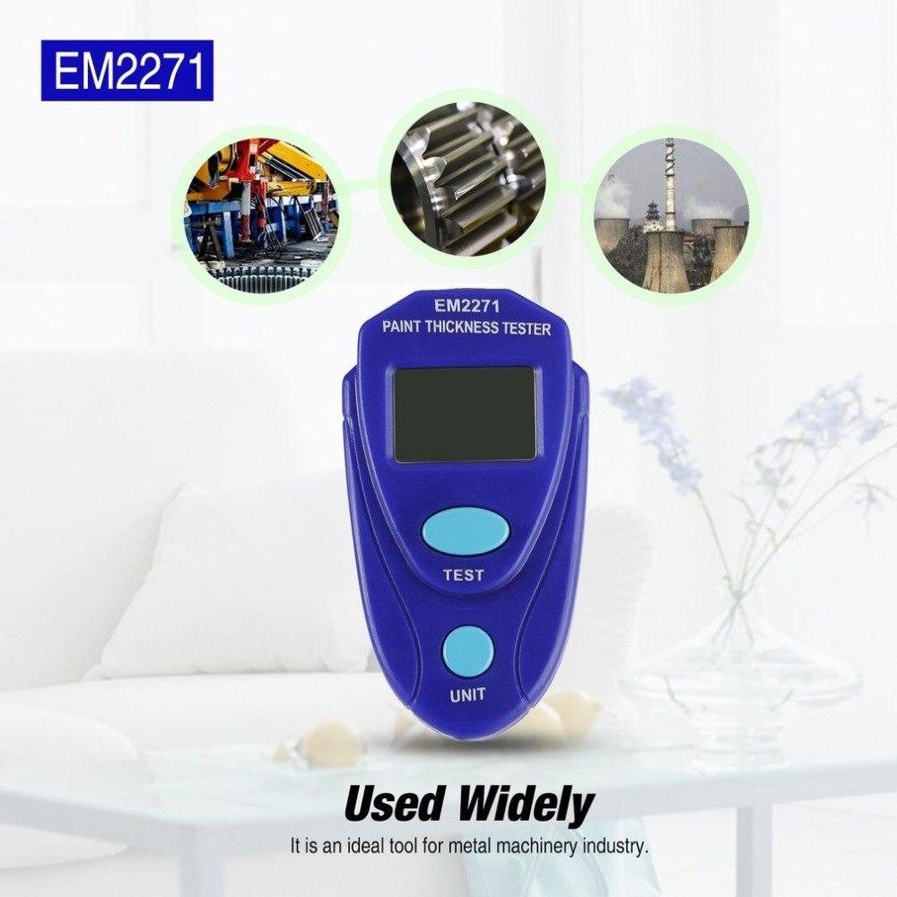 EM2271 Automotive medidores de Espessura de Revestimento de Pintura Digital LCD medidor de espessura Pintura Do Carro Da Preensão Dos Dados Mais Fino Verniz Revestimentos