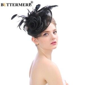 Image 5 - BUTTERMERE Fedora Hat Party Women Burgundy Hats Linen Wedding Lady Feather Flower Fascinator Pillbox Hat Bride Elegant Cap Black