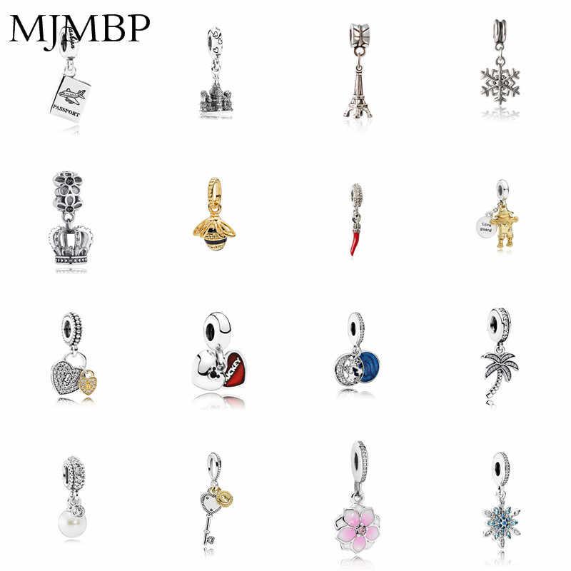 Coroa/Pimentão/Estrela/Lock/Abelha/Torre Pingente Encantos DIY Beads Fit Pandoraa Presente Para Pulseira & colares Fazer Jóias Presentes Mulheres
