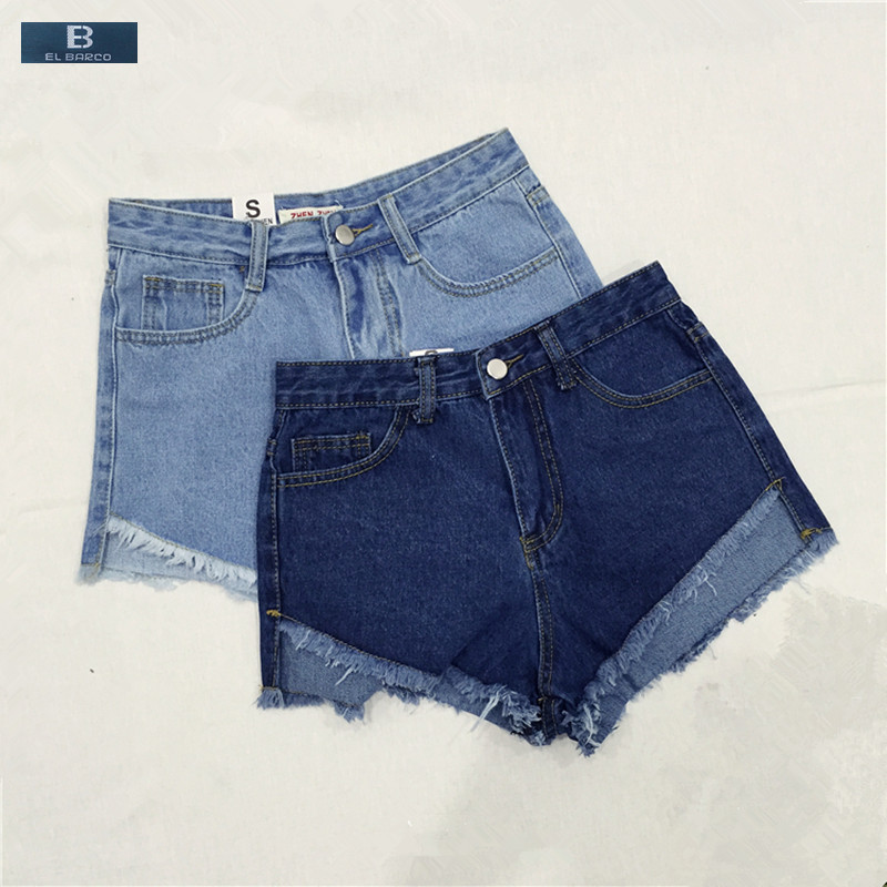 [EL BARCO] New <font><b>Hot</b></font> Summer <font><b>Cotton</b></font> Denim Casual Women <font><b>Shorts</b></font> <font><b>Jeans</b></font> Zipper-Fly Straight Fitness Solid Blue Female <font><b>Sexy</b></font> Mini <font><b>Shorts</b></font> image
