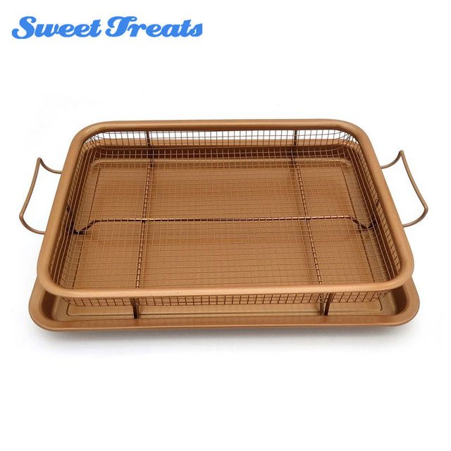 Sweettreats Tray Oven Air Fryer, Durable Mesh Basket with Reinforced Ceramic Coating Tray,  Cook with No Oil Baking Tray