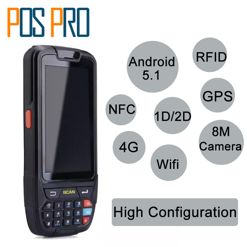 Android 5.1 Handheld pos terminal with NFC UHF RFID reader memory 4 inch large screen Data Terminal 1D,2D Laser Barcode Scanner original 1d laser barcode handheld scanner bluetooth android rugged mobile data terminal pda nfc 3g data collector 1 sim card 2d