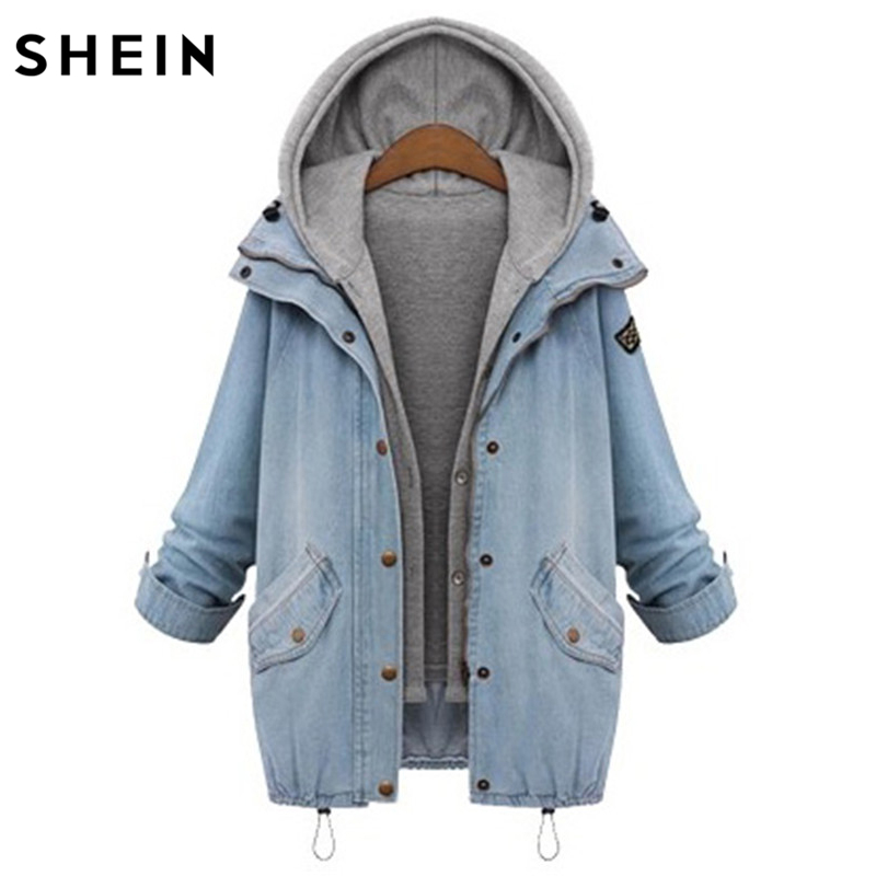 Шеин синие джинсы Куртки с капюшоном шнурок бойфренда тенденции Жан Swish карманов из двух частей Верхняя одежда Однобортный пальто