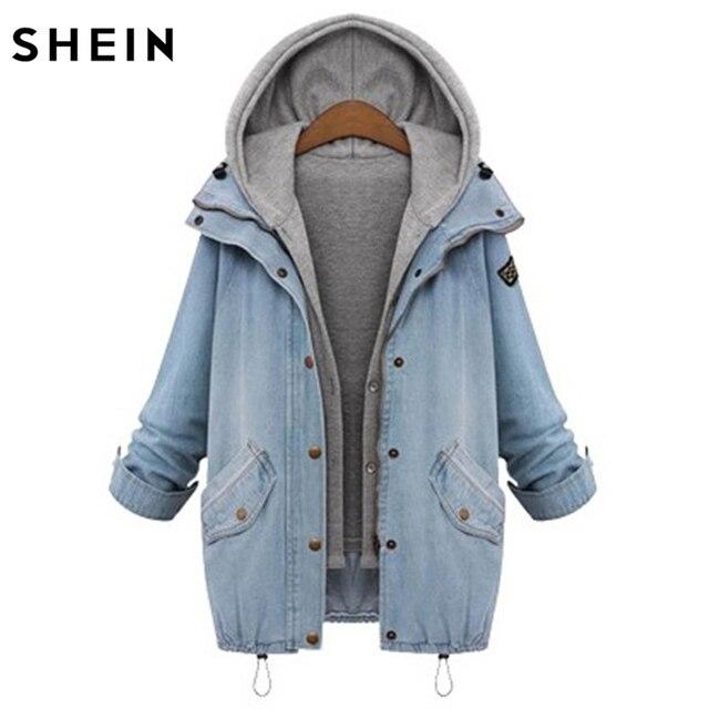 muy agradable 155f5 5c428 € 45.66  Shein azul denim Chaquetas encapuchado drawstring novio tendencias  Jean Swish bolsillos dos piezas sola capa breasted en Chaquetas básicas de  ...