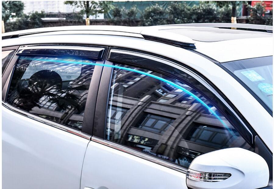For VW POLO Plastic Window Visor Vent Shades Sun Rain Deflector Guard For Volkswagen Polo Auto Accessories 4PCS/SET 2014-2017 for kia k3 window visor vent shades sun rain deflector guard awnings protector exterior car styling accessories
