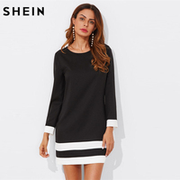 SHEIN Black Striped Cuff Hem Shift Dress 2018 New Fashion Elegant Smart Casual Tunic Woman Round